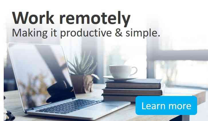 Work remotely banner